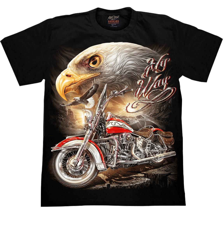 Koszulka motocyklowa orzeł , motocykl wolność , świecąca w ciemnościach